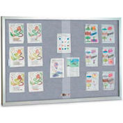 "United Visual Products 60""W x 36""H Sliding Glass Gray Easy Tack Board with Satin Frame"
