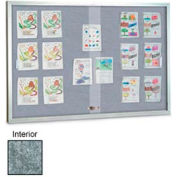 "United Visual Products 96""W x 48""H Sliding Glass Marble Easy Tack Board with Satin Frame"