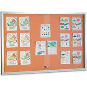 "United Visual Products 60""W x 36""H Sliding Glass Door Corkboard with Satin Radius Frame"