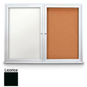 "United Visual Products 42""W x 32""H Outdoor Combo Board w/Licorice Vinyl Letterboard & Corkboard"