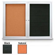 """United Visual Products 48""""W x 36""""H Outdoor Combo Board w/Licorice Vinyl Letterboard & Corkboard"""