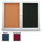 "United Visual 72""W x 36""H Indoor Combo Board w/Black Felt Letterboard & Burgundy Fabric Corkboard"