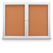 "United Visual Products 72""W x 36""H Outdoor Combo Board w/Two Corkboards"