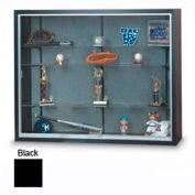 "72"" x 48"" x 8"" Black Laminate Display Case w/Three Shelves and Black Interior"