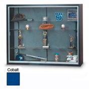 "72""x48""x8"" Black Laminate Display Case w/3 Shelves and Cobalt Accent Interior"