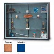 "60"" x 48"" x 12"" Oak Laminate Display Case w/3 Shelves and Cobalt Accent Interior"