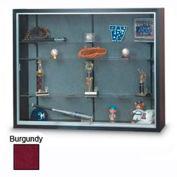 "60"" x 48"" x 12"" Black Laminate Display Case w/3 Shelves and Burgundy Interior"