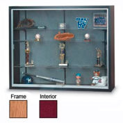 "48"" x 36"" x 12"" Oak Laminate Display Case w/Two Shelves and Burgundy Interior"