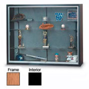 "60"" x 48"" x 16"" Oak Laminate Display Case w/Three Shelves and Black Interior"