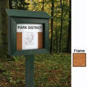 "United Visual Products 16""W x 34""H Mini Cork Message Board with Cedar Frame"