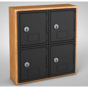 "United Visual Cell Phone Locker UVQ1022 - 4 Door 12"" x 4"" x 13-1/2"" Light Oak/Black Door w/Key Lock"