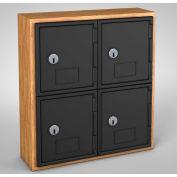 "United Visual Cell Phone Locker UVQ1022 - 4 Door 12"" x 4"" x 13-1/2"" Light Oak/Black Door w/Key Lock"