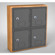 "United Visual Cell Phone Locker UVQ1023 - 4 Door 12"" x 4"" x 13-1/2"" Light Oak/Grey Door w/Key Lock"