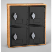 "United Visual Cell Phone Locker UVQ1024 - 4 Door 12"" x 4"" x 13-1/2"" Light Oak/Black Door w/Hasp Lock"