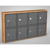 "United Visual Cell Phone Locker UVQ1027 - 8 Door 24"" x 4"" x 13-1/2"" Light Oak/Grey Door w/Key Lock"