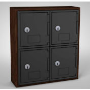 "United Visual Cell Phone Locker UVQ1030 - 4 Door 12"" x 4"" x 13-1/2"" Walnut/Black Door w/Key Lock"