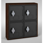 "United Visual Cell Phone Locker UVQ1032 - 4 Door 12"" x 4"" x 13-1/2"" Walnut/Black Door w/Hasp Lock"
