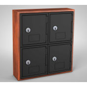 "United Visual Cell Phone Locker UVQ1038 - 4 Door 12"" x 4"" x 13-1/2"" Cherry/Black Door w/Key Lock"
