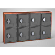 "United Visual Cell Phone Locker UVQ1045 - 8 Door 24"" x 4"" x 13-1/2"" Cherry/Grey Door w/Hasp Lock"