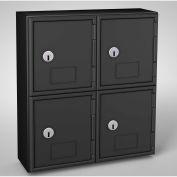 "United Visual Cell Phone Locker UVQ1046 - 4 Door 11"" x 4"" x 12-1/2"" Black/Black Door w/Key Lock"