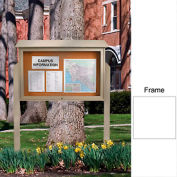 "United Visual Products 45""W x 30""H Cork Top-Hinged Single Door Message Center with White Frame"
