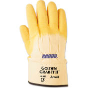 Ansell 16-347-10 Golden Grab-It® II Heavy-Duty Work Gloves, Size 10, Yellow, 12 Pairs