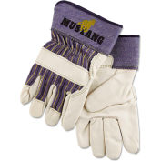 MCR Safety 1935XL Mustang Leather Palm Gloves, Blue/Cream, X-Large, 12 Pairs
