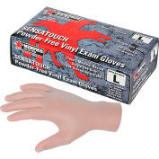 MCR Safety 5010 Medical/Exam Grade Vinyl Gloves, 5 Mil, Powder-Free, Large, Clear, 100/Box