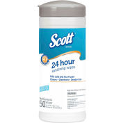 Scott® Disinfectant Wipes, White, Unscented, 7-7/8 x 6-8/9, 50/Canister, 12/CT - 41524CT