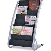 "Alba DDEXPO8 Literature Floor 8-Pocket Display Rack, 22-1/5""W x 18-2/5""D x 36""H, BLK/Chrome"