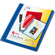 """ACCO Vinyl Report Cover, Prong Clip, Letter, 1/2"""" Capacity, Clear Cover/Blue Back"""