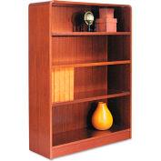 "Alera ALEBCR44836MC Radius Corner Wood Veneer Bookcase, 4-Shelf, 35 5/8""Wx11-3/4""Dx48""H, Cherry"