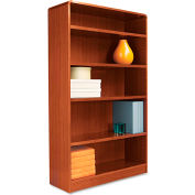 "Alera ALEBCR56036MC Radius Corner Wood Veneer Bookcase, 5-Shelf, 35 5/8""Wx11-3/4""Dx60""H, Cherry"