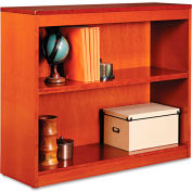 "Alera ALEBCS23036MC Square Corner Wood Veneer Bookcase, 2-Shelf, 35 5/8""Wx11-3/4""Dx30""H, Cherry"
