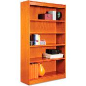 "Alera ALEBCS56036MC Square Corner Wood Veneer Bookcase, 5-Shelf, 35 5/8""Wx11-3/4""Dx60""H, Cherry"