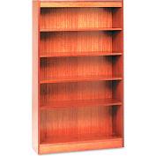 "Alera ALEBCS56036MO Square Corner Wood Veneer Bookcase, 5-Shelf, 35 5/8""Wx11-3/4""Dx60""H, Oak"