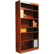 "Alera ALEBCS67236MO Square Corner Wood Veneer Bookcase, 6-Shelf, 35 5/8""Wx11-3/4""Dx72""H, Oak"