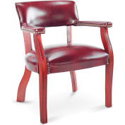 Alera® Traditional Series Guest Arm Chair, Mahogany Finish/Oxblood Vinyl