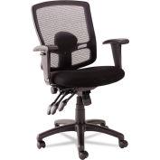 Alera® Etros Series Petite Mid-Back Multifunction Mesh Chair, Black