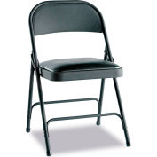 Alera® Steel Folding Chair w/Padded Seat, Graphite, 4/Carton