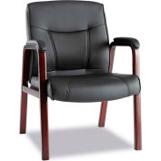Alera® Madaris Leather Guest Chair w/Wood Trim, Four Legs, Black/Mahogany