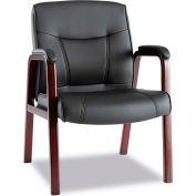 Alera® Madaris Leather Guest Chair - Black/Mahogany