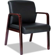Alera® Reception Lounge Series Ready-To-Assemble Guest Chair, Mahogany/Black Leather