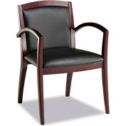 Alera® Reception Lounge Series Guest Chair, Mahogany/Black Leather