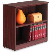 "Alera ALEVA633032MY Valencia Series Bookcase, 2 Shelves, 31-3/4""W x 14""D x 29-1/2""H, Mahogany"