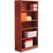 "Alera ALEVA636632MC Valencia Series Bookcase, 5 Shelves, 31-3/4""W x 14""D x 65""H, Medium Cherry"