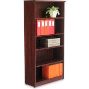 "Alera ALEVA636632MY Valencia Series Bookcase, 5 Shelves, 31-3/4""W x 14""D x 65""H, Mahogany"