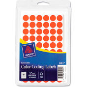 """Avery® Removable Self-Adhesive Color-Coding Labels, 1/2"""" Dia, Neon Red, 840/Pack"""