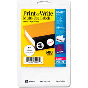 "Avery® Print or Write Removable Multi-Use Labels, 1"" Dia, White, 600/Pack"