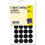 "Avery® Removable Self-Adhesive Color-Coding Labels, 3/4"" Dia, Black, 1008/Pack"